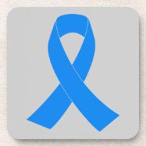 Light Blue Awareness Ribbon Beverage Coaster