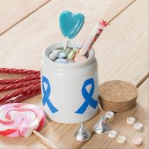 Light Blue Awareness Ribbon Candy Jar