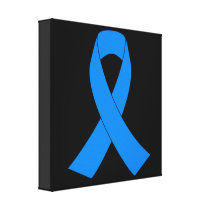 Light Blue Awareness Ribbon Canvas Print