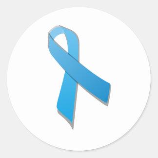light blue awareness ribbon classic round sticker