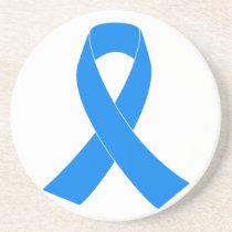 Light Blue Awareness Ribbon Coaster