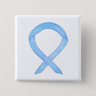 Light Blue Awareness Ribbon Custom Pin Buttons