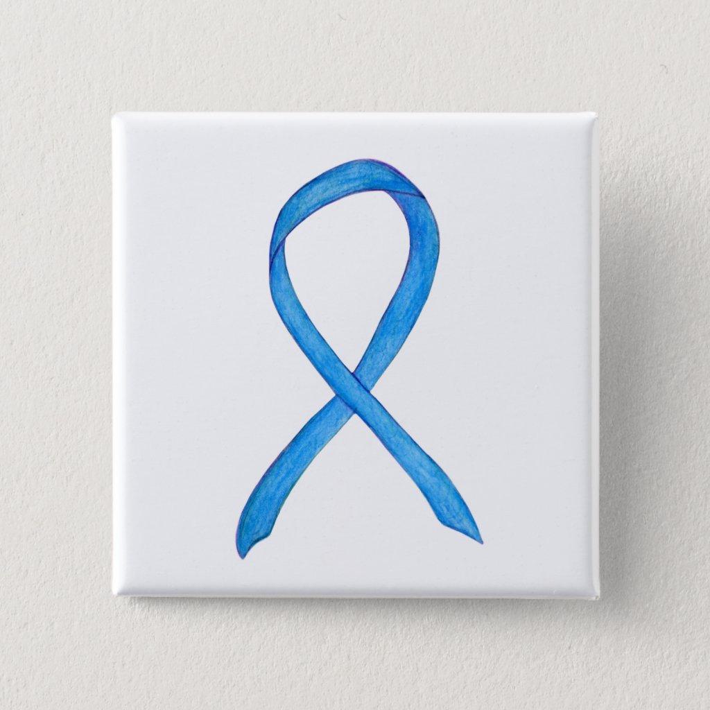 Light Blue Awareness Ribbon Custom Pin Buttons