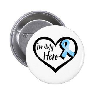 Light Blue Awareness Ribbon For My Hero Button