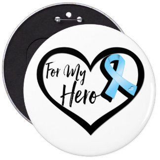 Light Blue Awareness Ribbon For My Hero Pinback Button