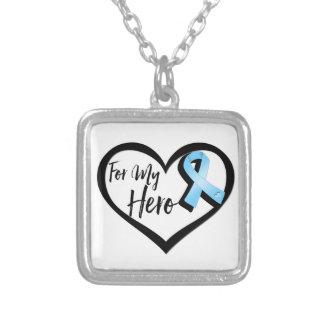 Light Blue Awareness Ribbon For My Hero Square Pendant Necklace