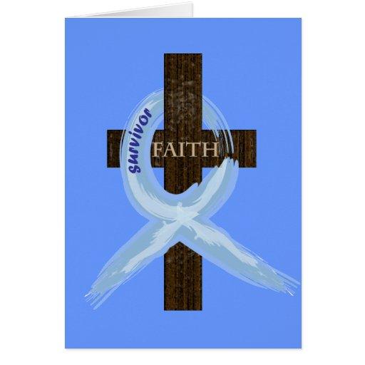 Light Blue Awareness Ribbon on a Cross Greeting Cards