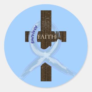 Light Blue Awareness Ribbon on a Cross Classic Round Sticker