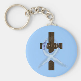 Light Blue Awareness Ribbon on a Cross Keychain