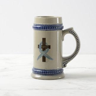 Light Blue Awareness Ribbon on a Cross 18 Oz Beer Stein