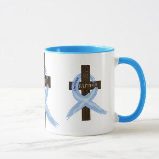 Light Blue Awareness Ribbon on a Cross Mug