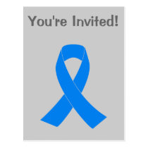 Light Blue Awareness Ribbon Postcard