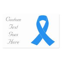 Light Blue Awareness Ribbon Rectangular Sticker