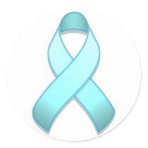 Light Blue Awareness Ribbon Round Sticker