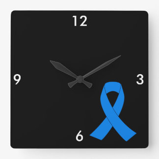 Light Blue Awareness Ribbon Square Wall Clock