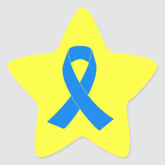 Light Blue Awareness Ribbon Star Sticker