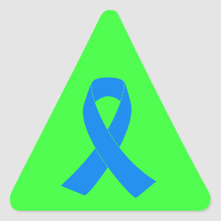 Light Blue Awareness Ribbon Triangle Sticker