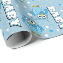 Light Blue Baby Polka Dot Owls Wrapping Paper