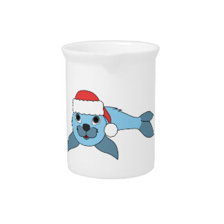 Light Blue Baby Seal with Christmas Red Santa Hat Beverage Pitchers