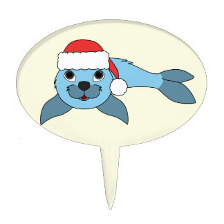 Light Blue Baby Seal with Christmas Red Santa Hat Cake Topper