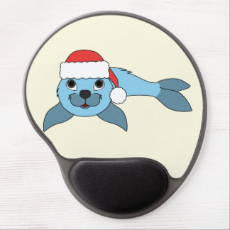 Light Blue Baby Seal with Christmas Red Santa Hat Gel Mouse Pad
