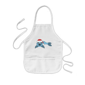 Light Blue Baby Seal with Christmas Red Santa Hat Kids' Apron