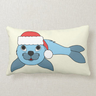 Light Blue Baby Seal with Christmas Red Santa Hat Lumbar Pillow
