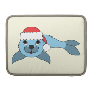 Light Blue Baby Seal with Christmas Red Santa Hat MacBook Pro Sleeve