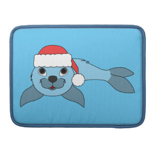 Light Blue Baby Seal with Christmas Red Santa Hat MacBook Pro Sleeves
