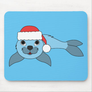 Light Blue Baby Seal with Christmas Red Santa Hat Mouse Pad