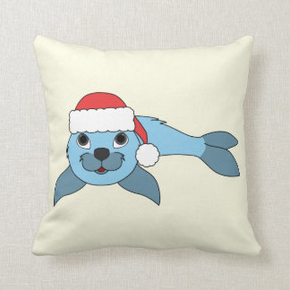 Light Blue Baby Seal with Christmas Red Santa Hat Throw Pillow