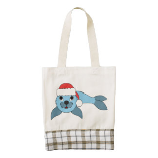 Light Blue Baby Seal with Christmas Red Santa Hat Zazzle HEART Tote Bag