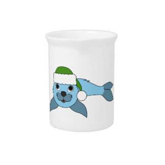 Light Blue Baby Seal with Green Santa Hat Beverage Pitcher