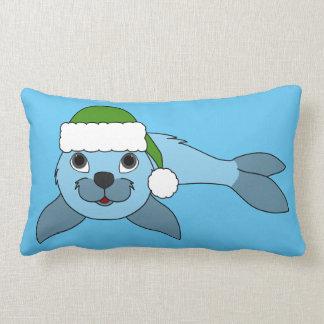 Light Blue Baby Seal with Green Santa Hat Lumbar Pillow