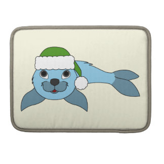 Light Blue Baby Seal with Green Santa Hat MacBook Pro Sleeve