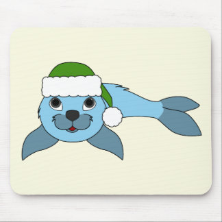 Light Blue Baby Seal with Green Santa Hat Mouse Pad