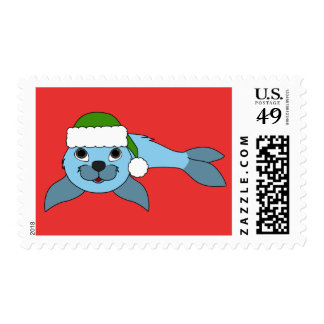 Light Blue Baby Seal with Green Santa Hat Postage