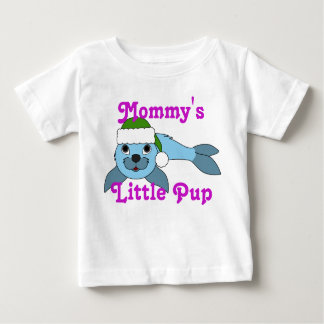 Light Blue Baby Seal with Green Santa Hat Shirt