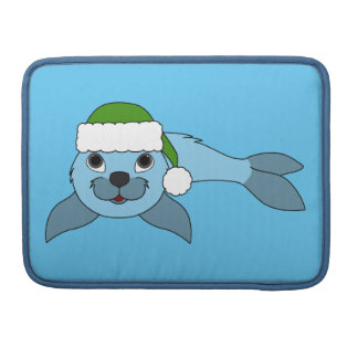 Light Blue Baby Seal with Green Santa Hat Sleeve For MacBook Pro