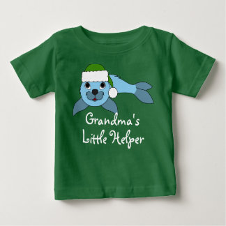 Light Blue Baby Seal with Green Santa Hat T-shirt