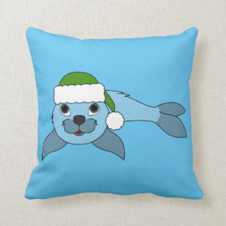 Light Blue Baby Seal with Green Santa Hat Throw Pillow