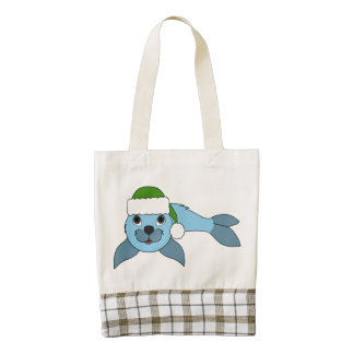Light Blue Baby Seal with Green Santa Hat Zazzle HEART Tote Bag