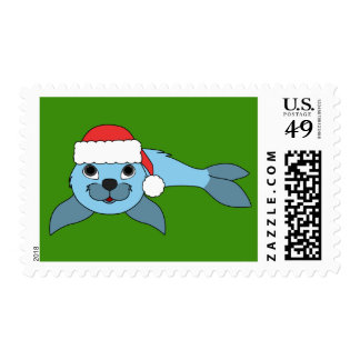 Light Blue Baby Seal with Red Santa Hat Postage