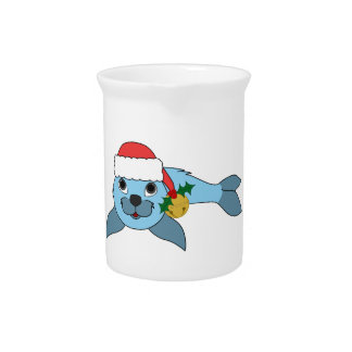 Light Blue Baby Seal with Santa Hat & Gold Bell Beverage Pitchers