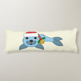 Light Blue Baby Seal with Santa Hat & Gold Bell Body Pillow