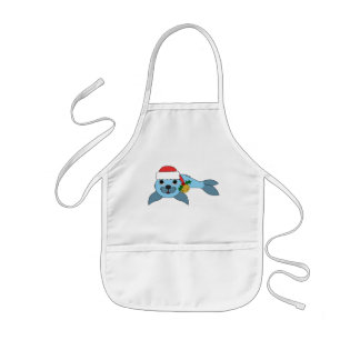 Light Blue Baby Seal with Santa Hat & Gold Bell Kids' Apron
