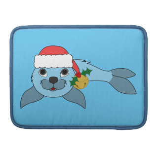 Light Blue Baby Seal with Santa Hat & Gold Bell Sleeve For MacBooks