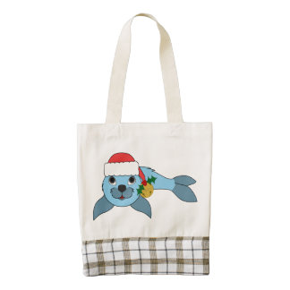 Light Blue Baby Seal with Santa Hat & Gold Bell Zazzle HEART Tote Bag