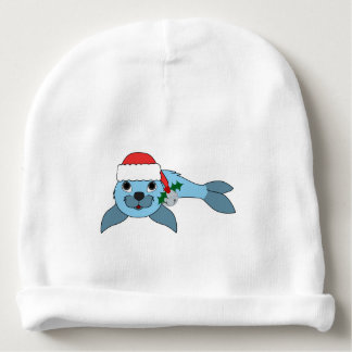 Light Blue Baby Seal with Santa Hat & Silver Bell