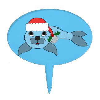 Light Blue Baby Seal with Santa Hat & Silver Bell Cake Topper